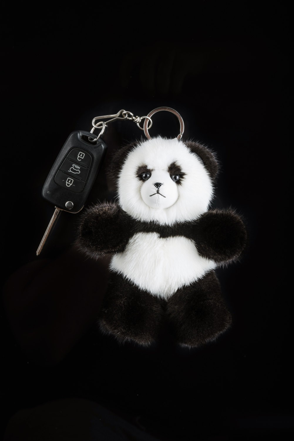 Buy Real Mink Fur Panda Keychain Black and White