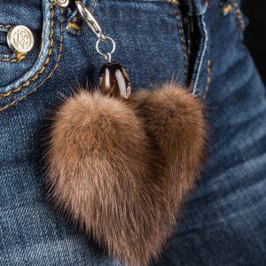 Buy Heart Keychain Real Fur Mink Brown