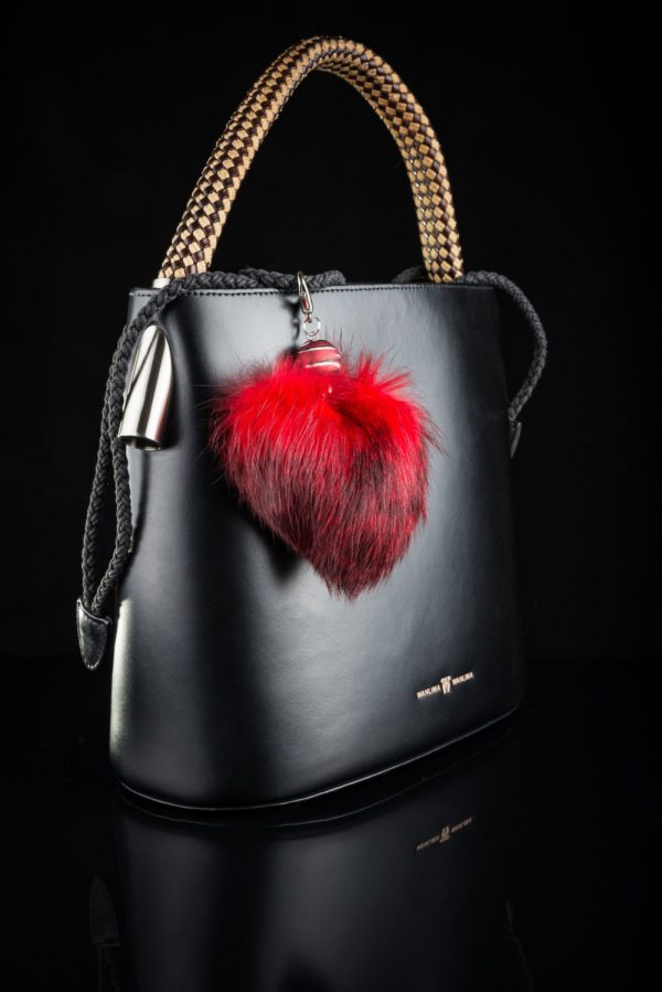 Buy Heart Keychain Real Fur Rabbit Red