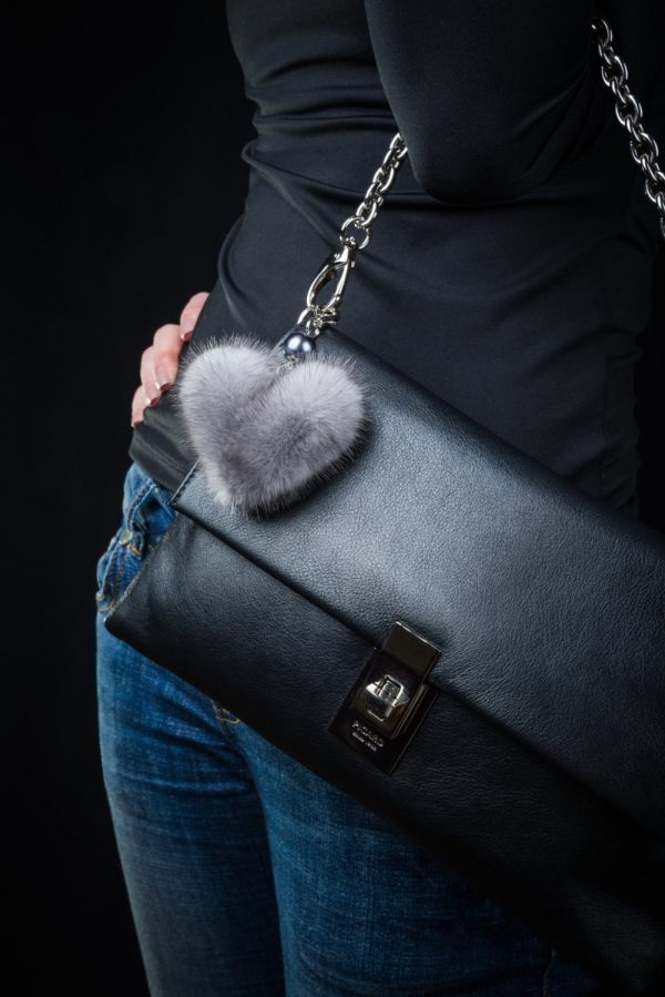 Buy Heart Keychain Real Fur Mink Gray