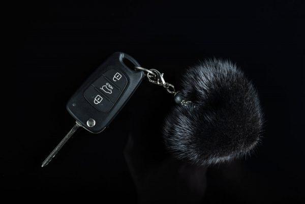 Buy Heart Keychain Real Fur Mink Black