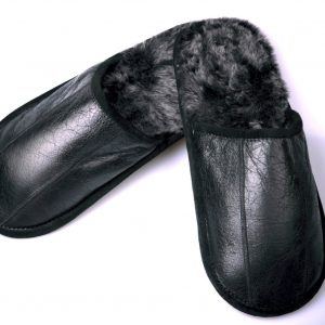 Black Slippers With Lambskin Insole and Coating Men