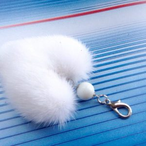 Buy Heart Keychain Real Fur Mink White
