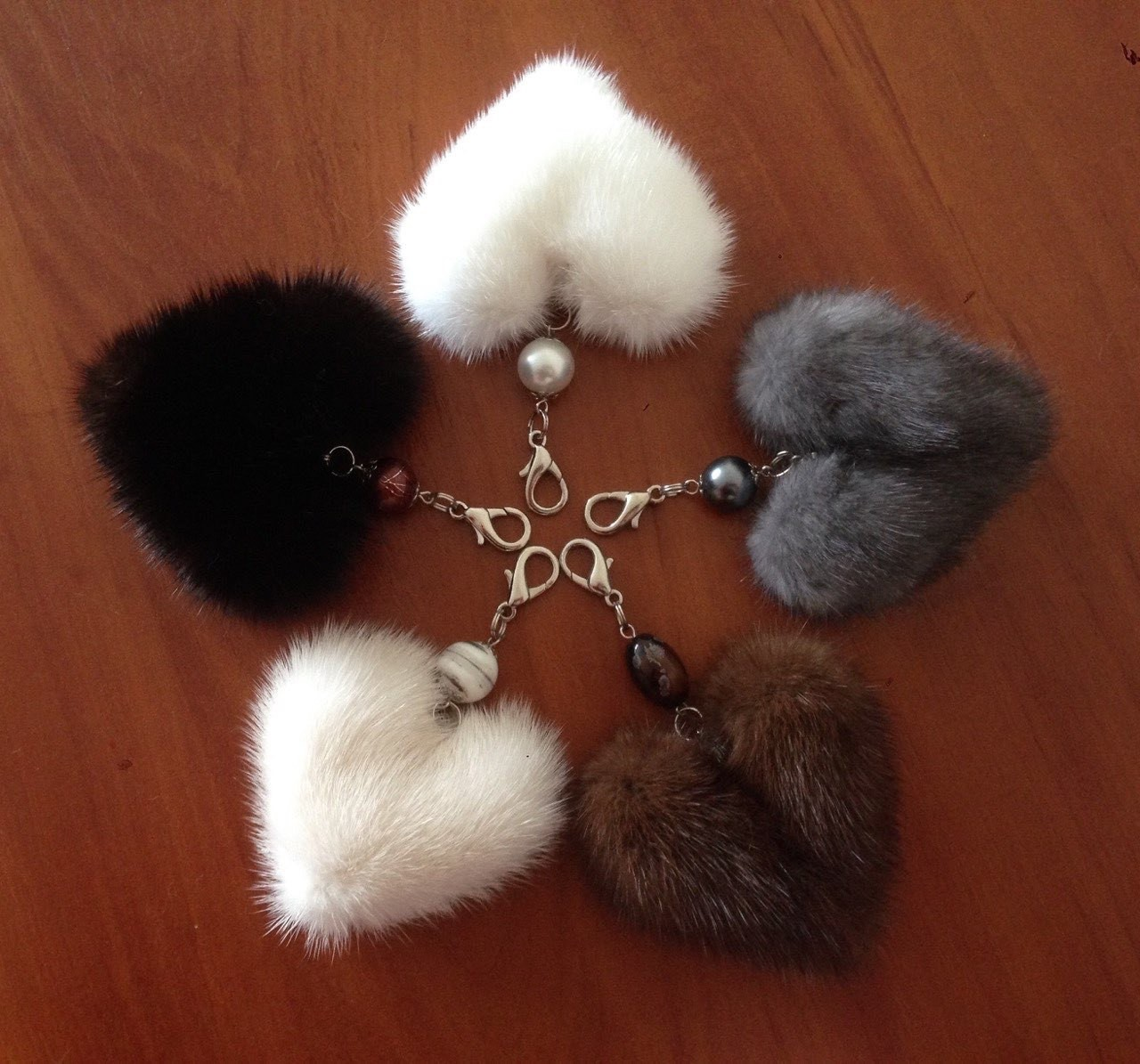 Buy Heart Keychain Real Fur Mink Violet