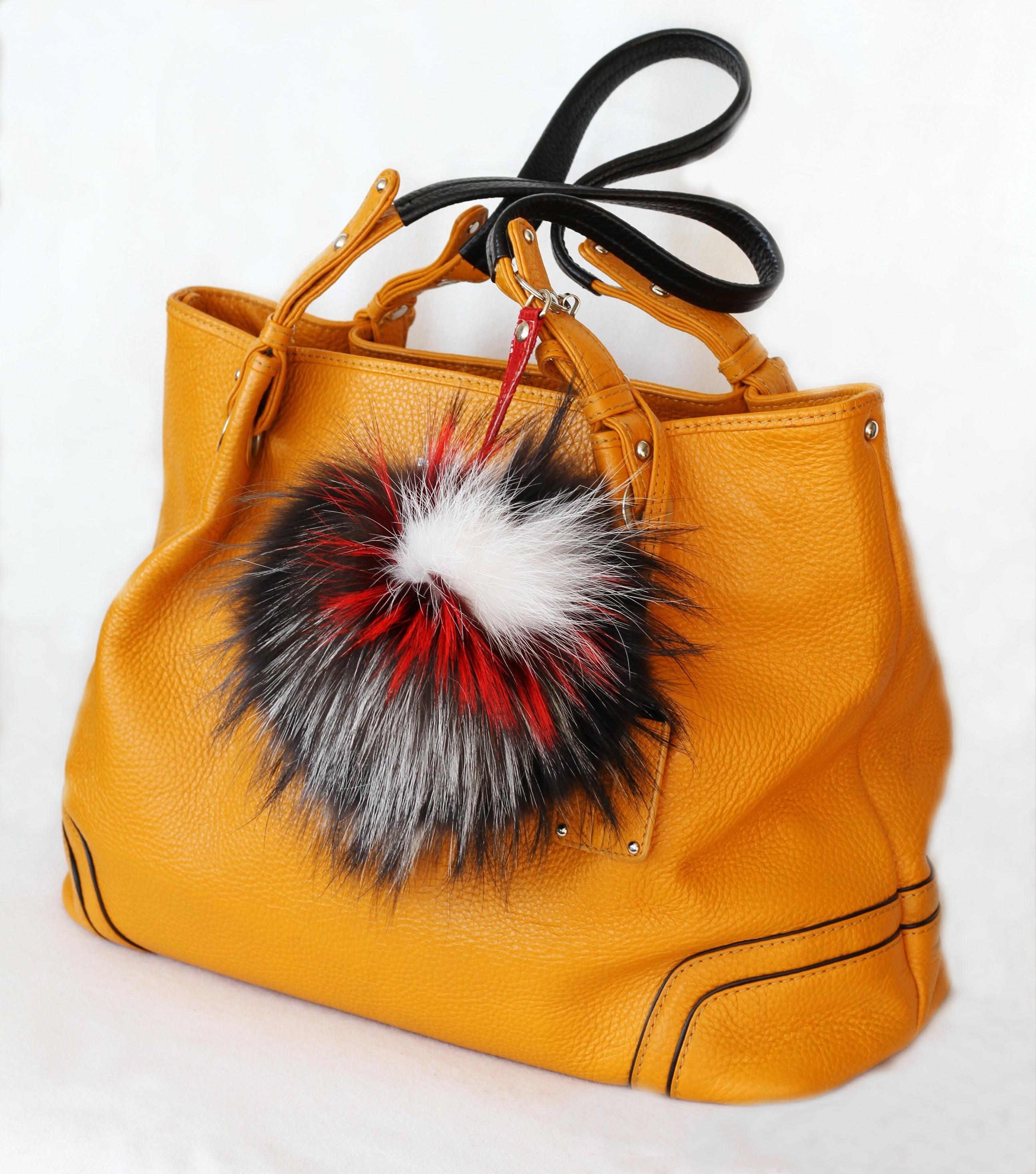 Buy Pom Pom Real Fur Bag Charm Pendant  Brown Beige Black