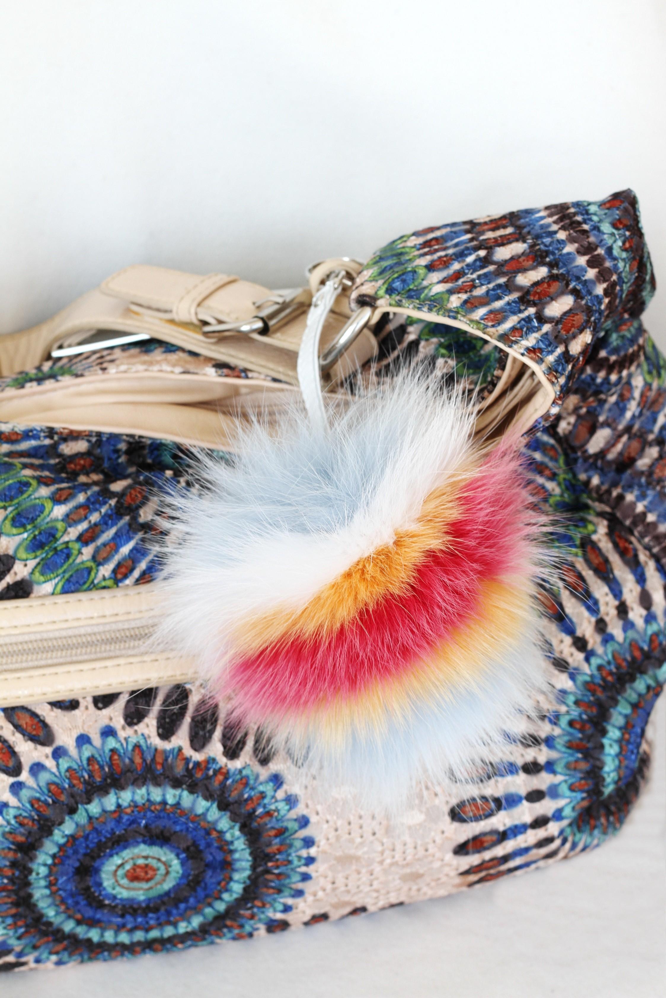 Buy Pom Pom Real Fur Bag Charm Pendant Beige White Black
