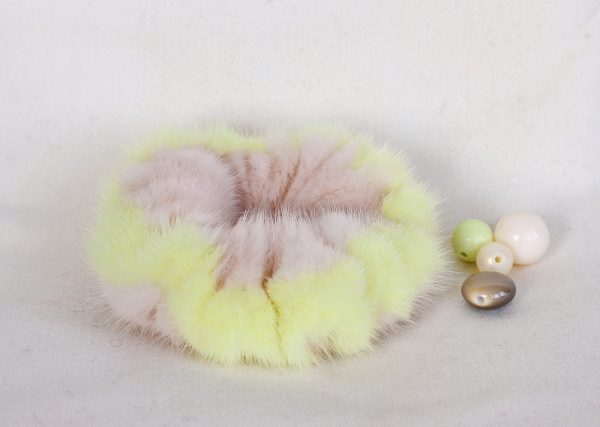 Buy Hair Scrunchie Real Fur Pearl and Yellow (Lemon)