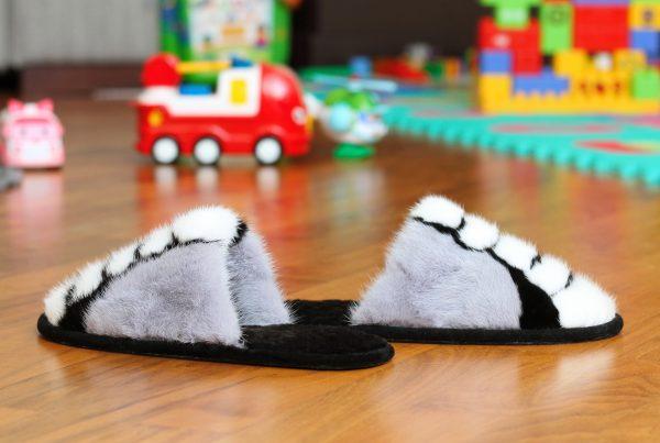 Buy Women's Real Mink Slippers Black White Gray Printe Line