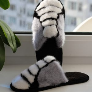 Buy Women's Real Mink Slippers Black White Gray Printe Line