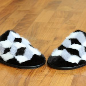 Buy Women's Real Mink Slippers Black White Gray Printe Cube