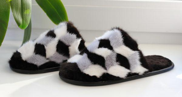 Buy Women's Real Mink Slippers Black White Gray Printe Cube