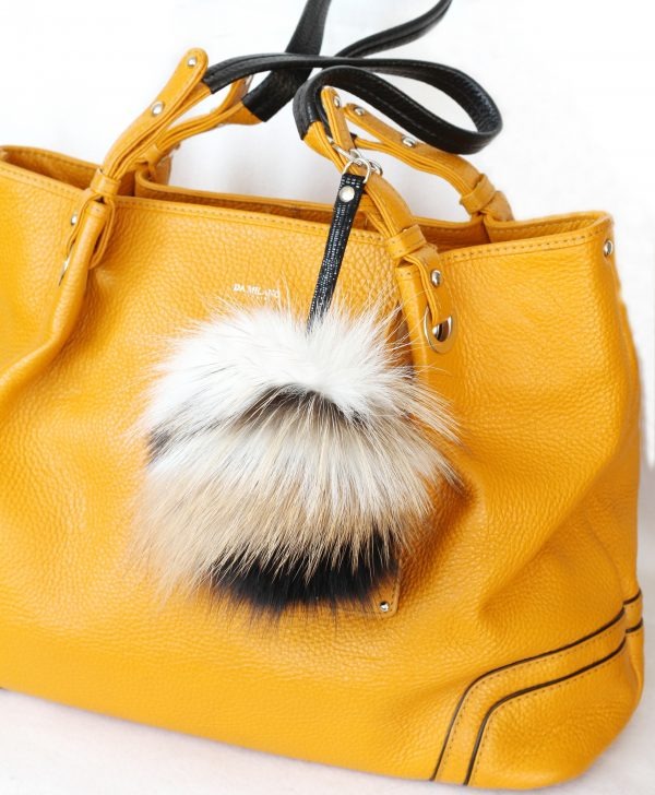 Buy Pom Pom Real Fur Bag Charm Pendant Brown Beige Black