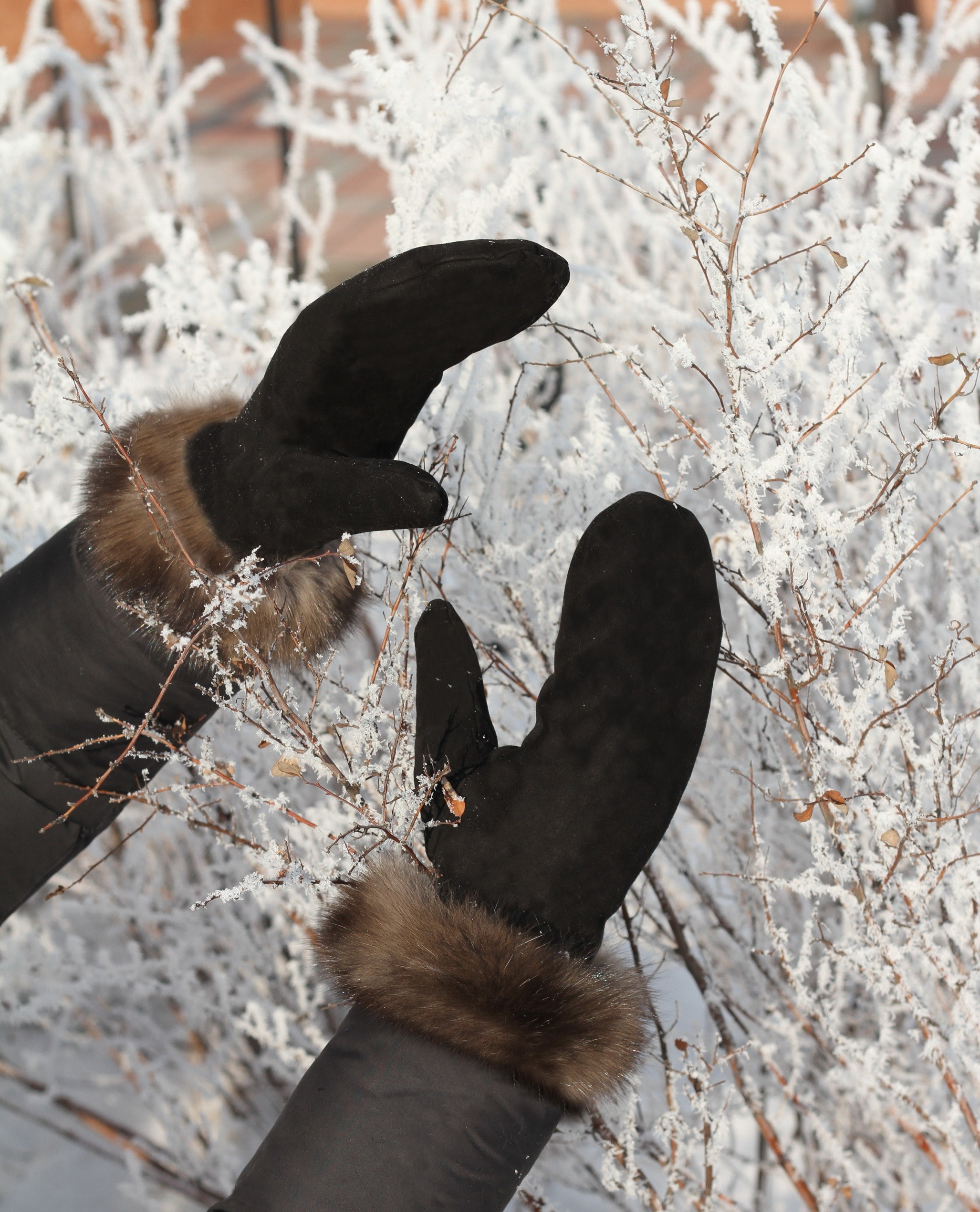 Buy Women Black Gloves Double-sided with Sable Real Fur Mink