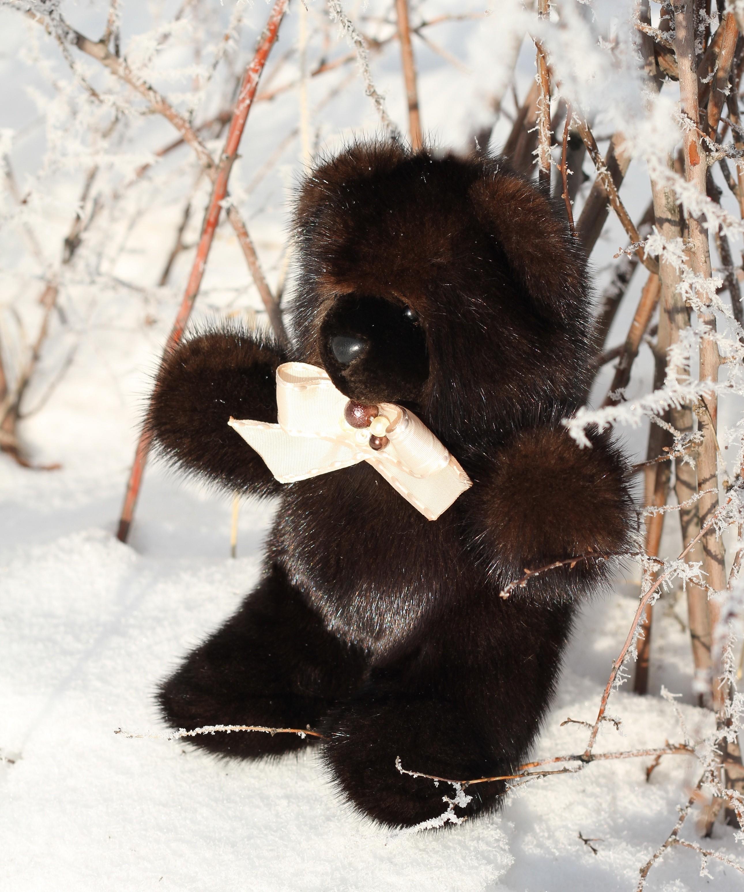 Buy Real Fur Mink Bear Dark Brown