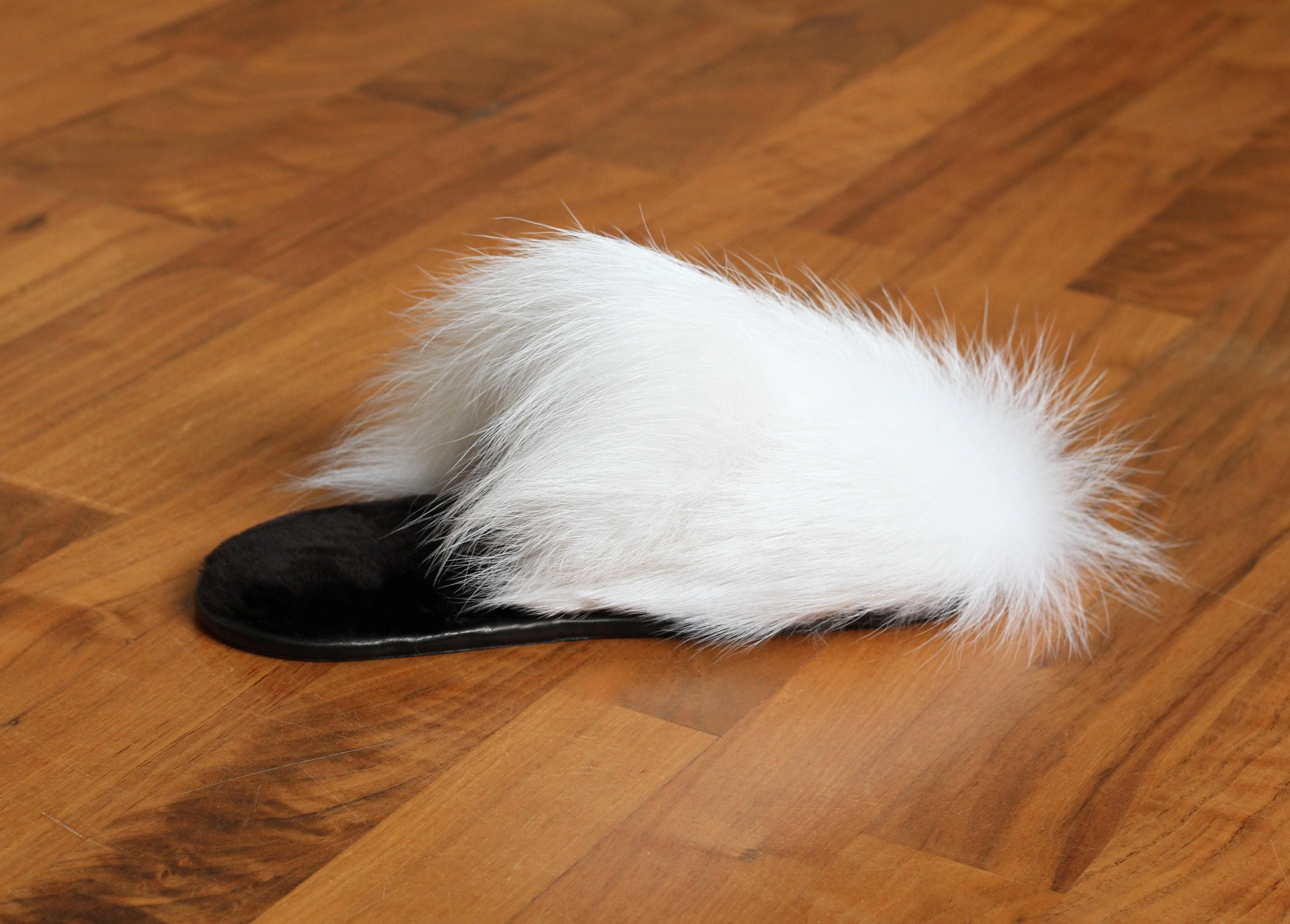 Buy Women's Slippers Real White Fox