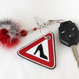 "Gray Red ""Caution! Girl!"" Pom Pom Keychain"