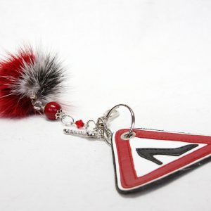 "Buy Pom Pom Real Fur Keychain symbol ""Caution! Girl!"""