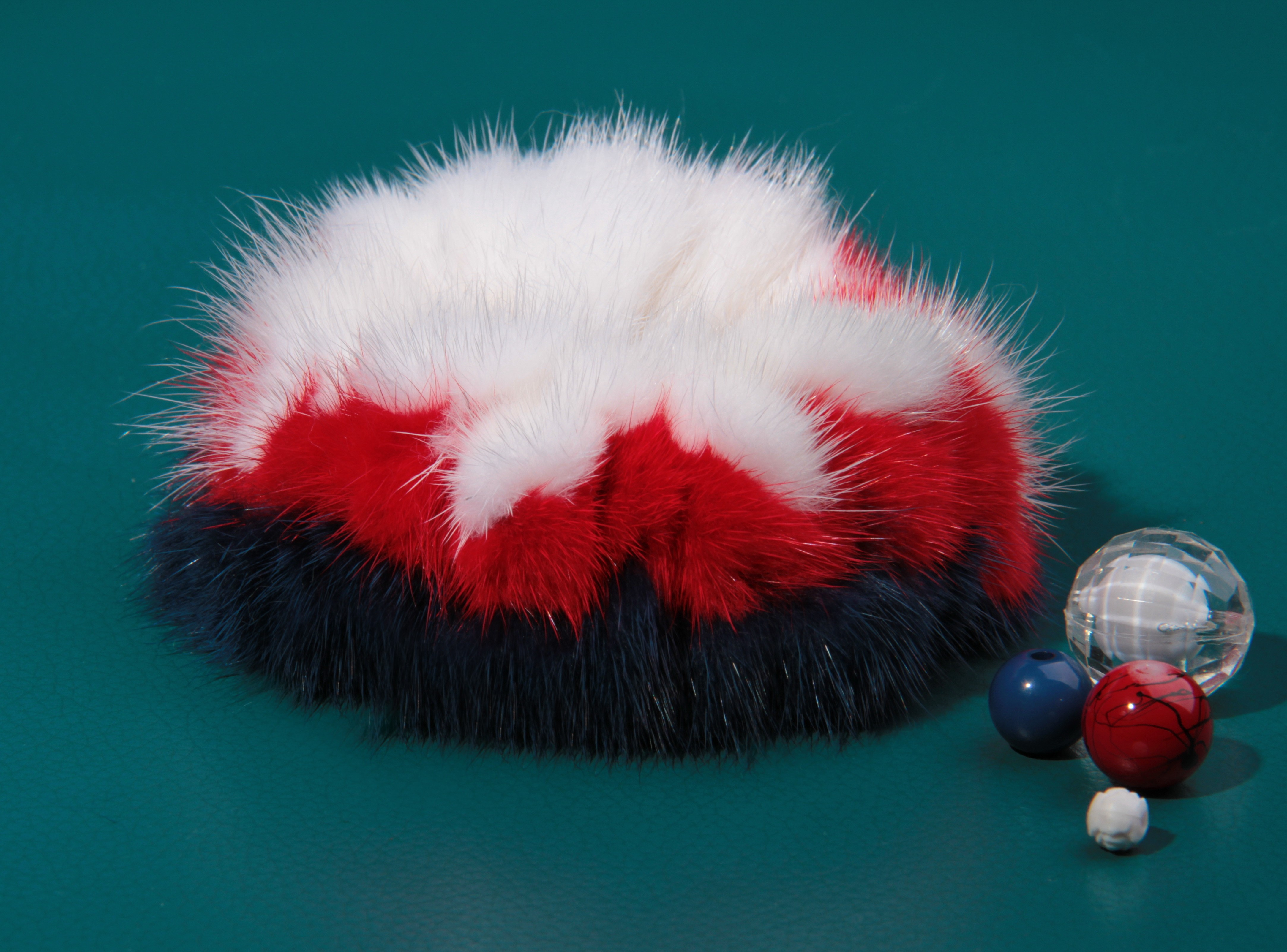 Buy Hair Scrunchie Real Mink White Red Blue