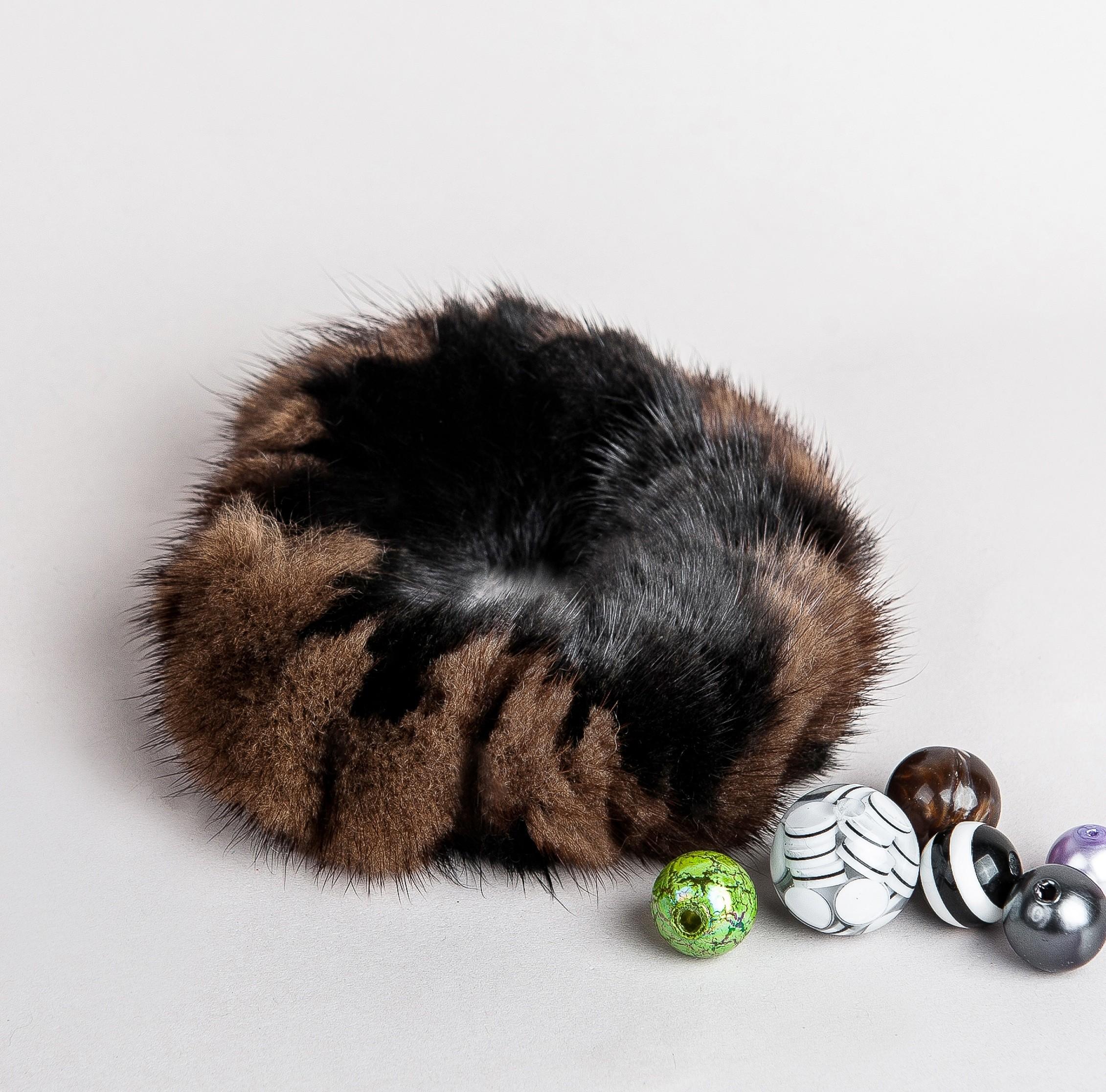 Buy Hair Scrunchie Real Mink Black and Light Brown