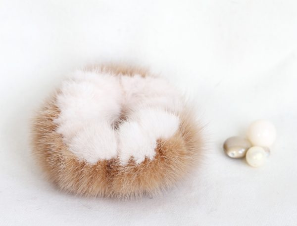 Buy Hair Scrunchie Real Mink Pearl and Sand