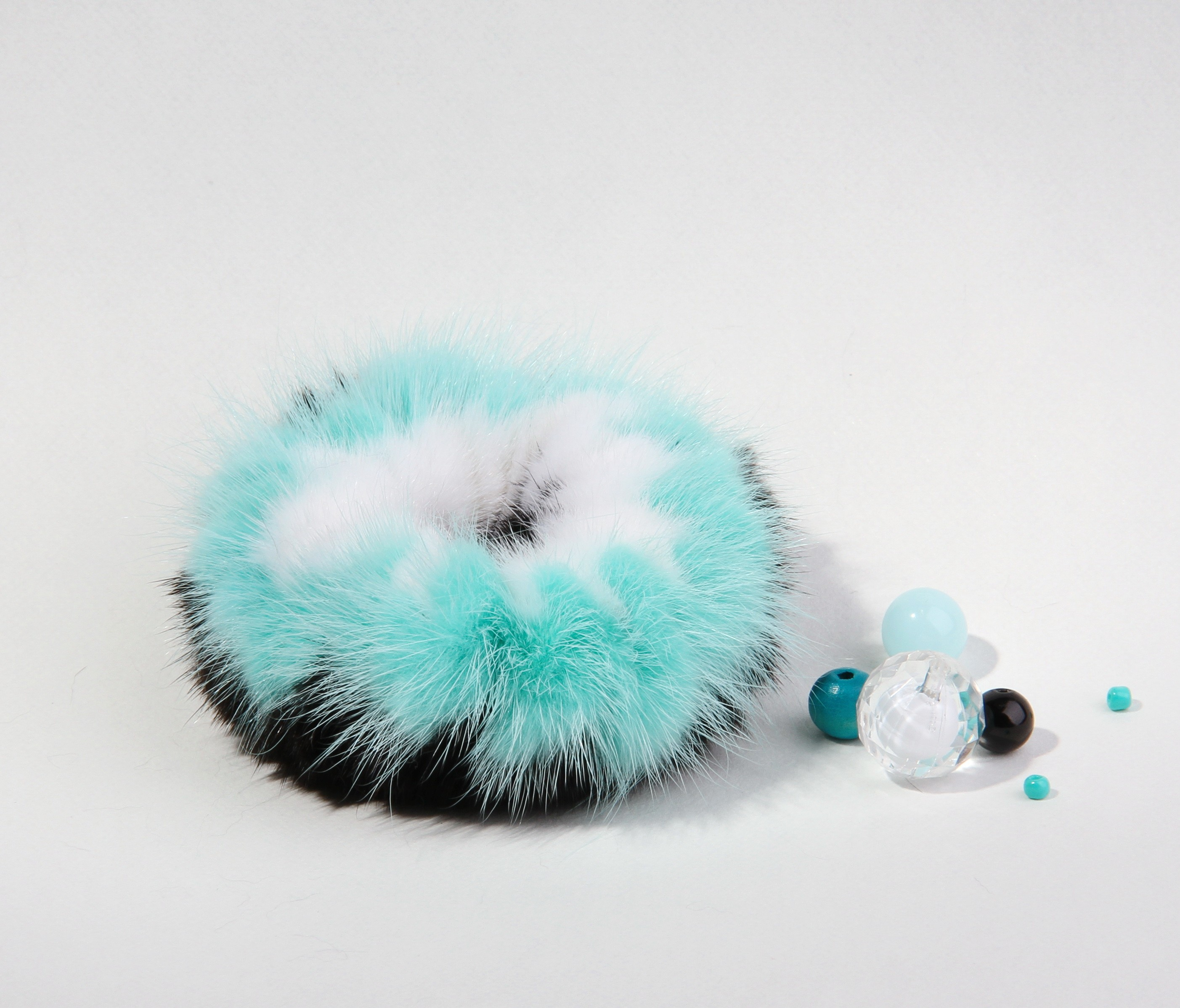 Buy Hair Scrunchie Real Mink multicolor Turquoise White Black