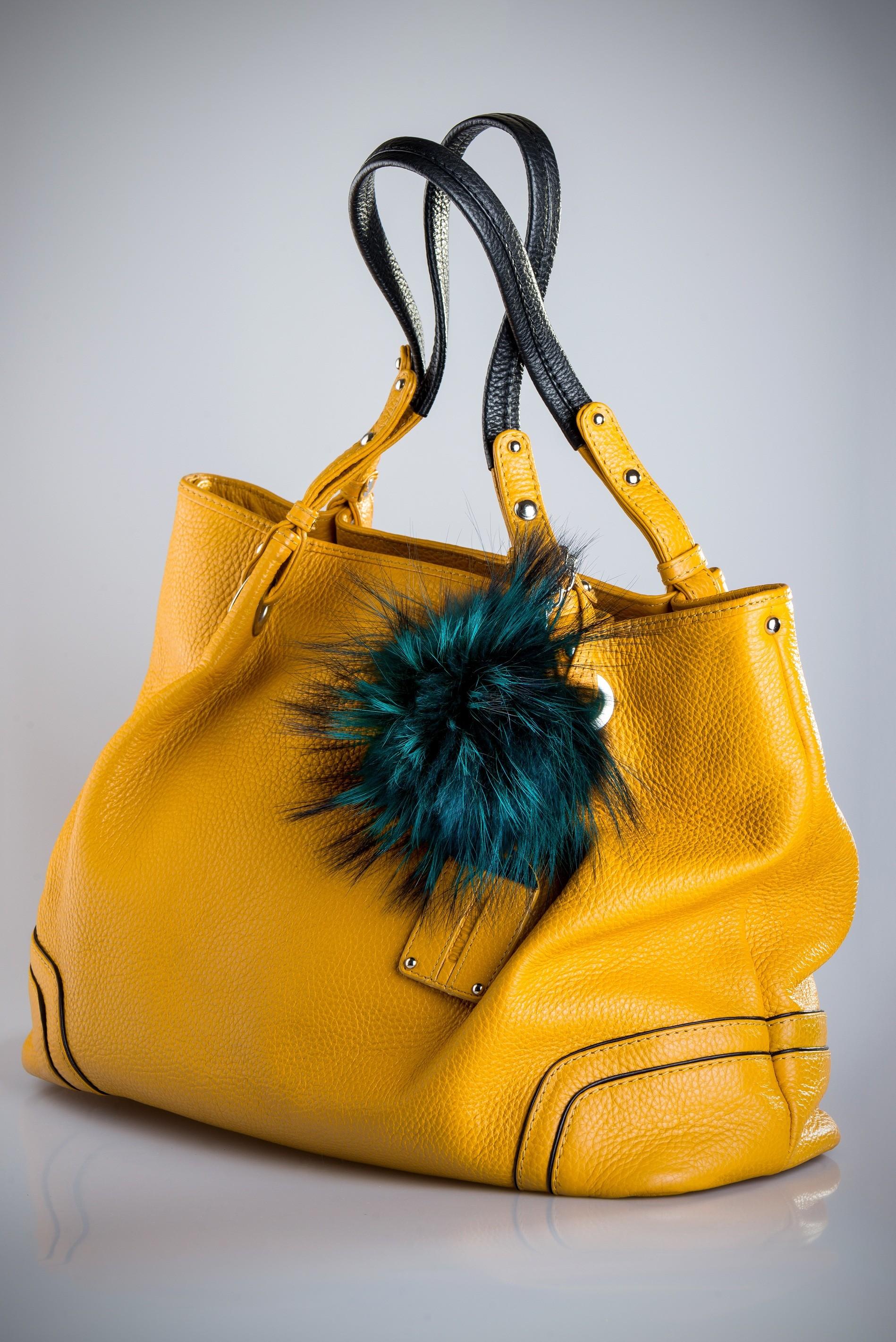 Buy Pom Pom Real Fur Racoon Fox Bag Charm Pendant Green