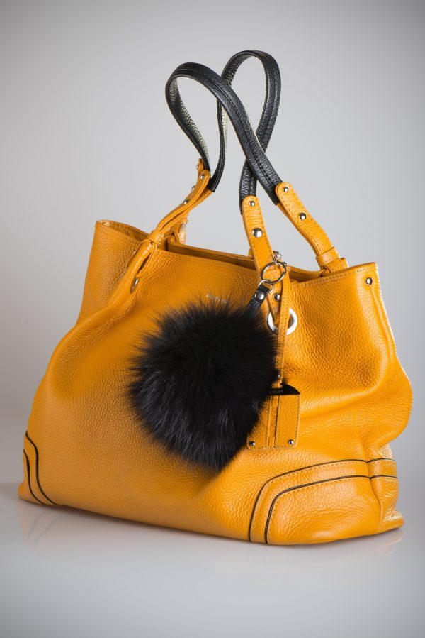Buy Pom Pom Real Fur Polar Fox Bag Charm Pendant Black