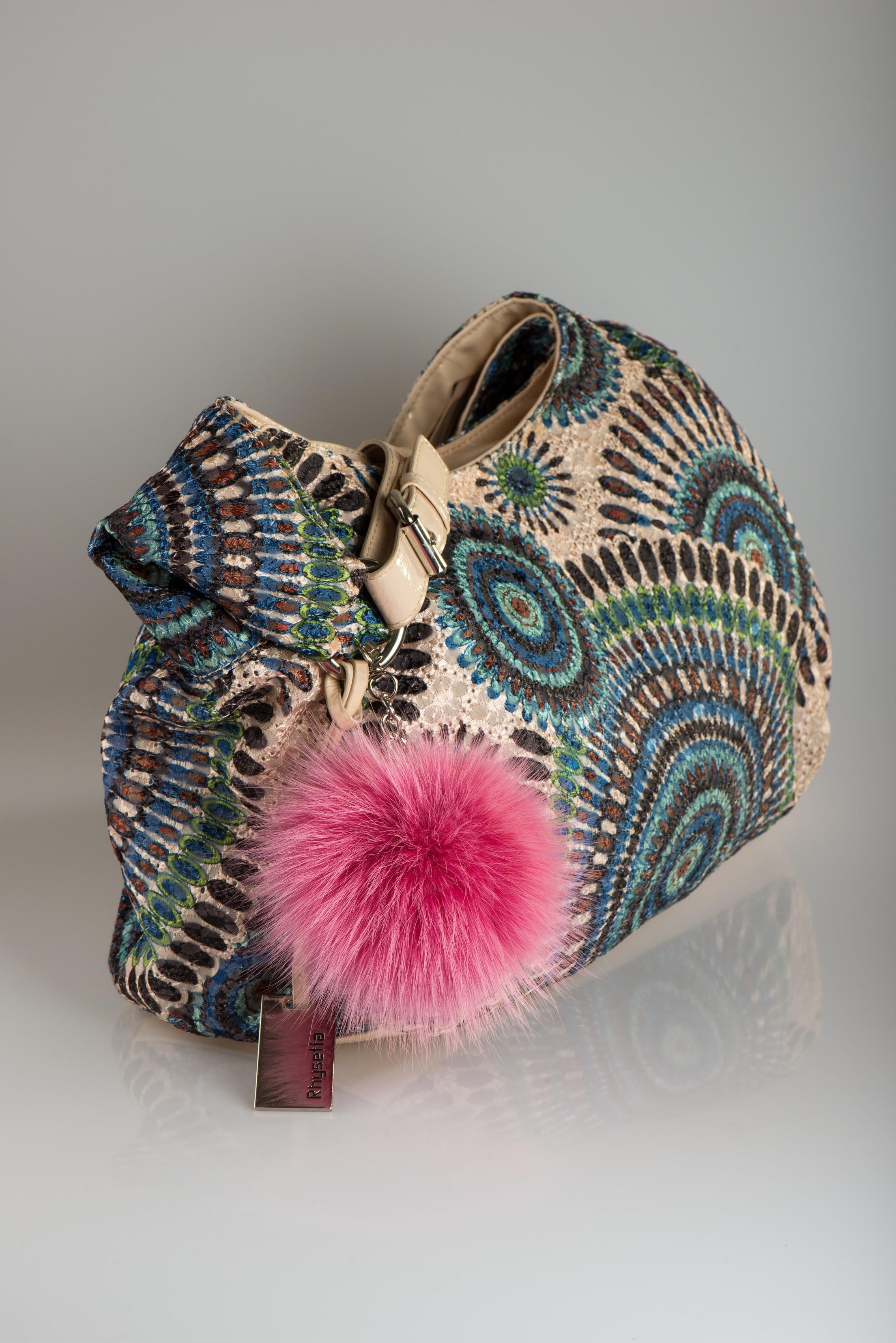 Buy Pom Pom Real Fur Polar Fox Bag Charm Pendant Black