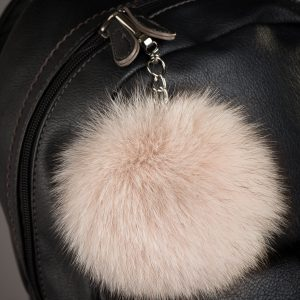 Real Fox Fur Beige Pom Pom Keychain