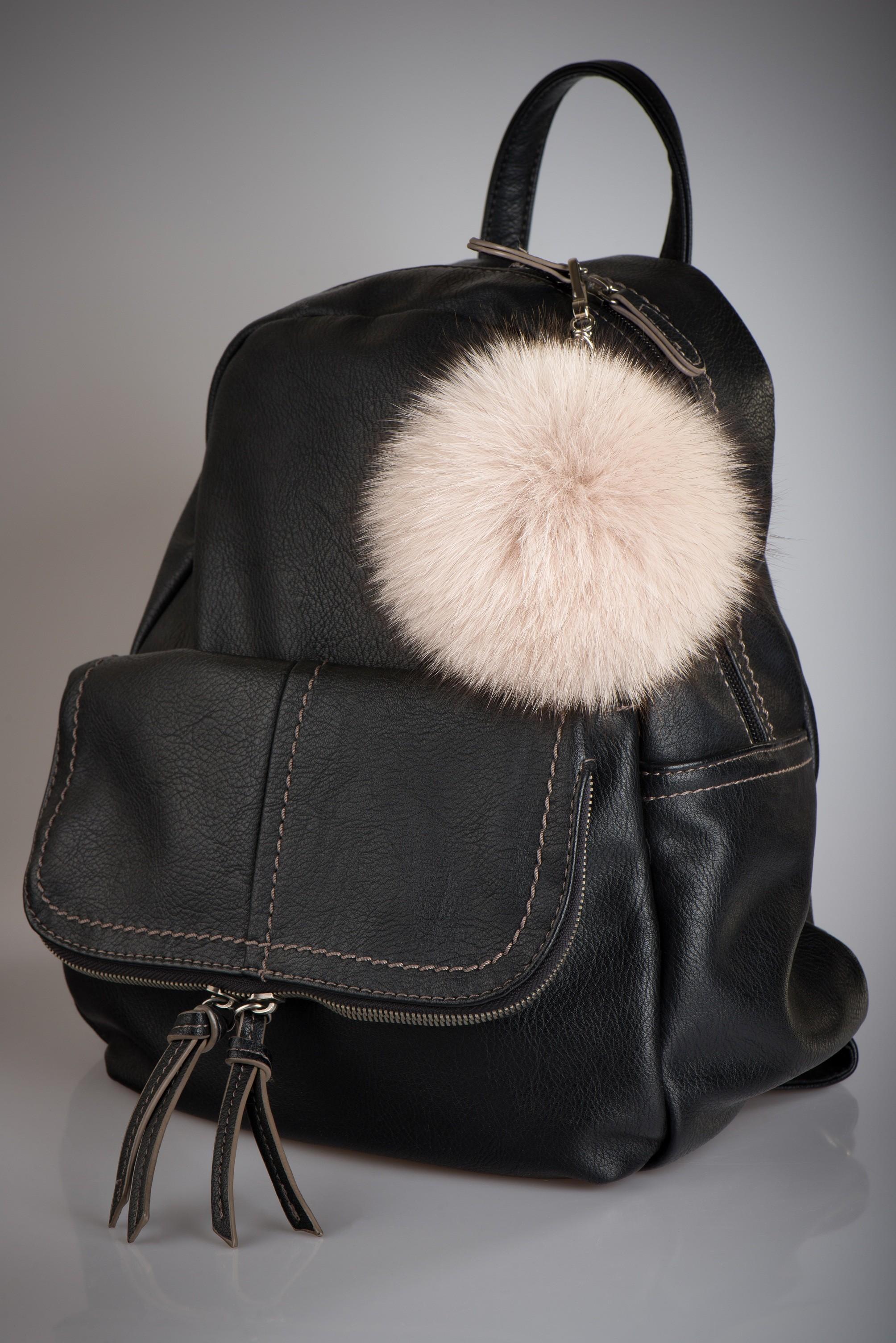 Buy Pom Pom Real Fur Polar Fox Bag Charm Pendant Beige