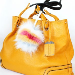 Buy Pom Pom Real Fur Bag Charm Pendant Beige White Black