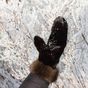Buy Real Fur Mink Double-sided Black Gloves with Sable