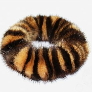 Buy Hair Scrunchie Real Mink White and Brown Striped Bicolor