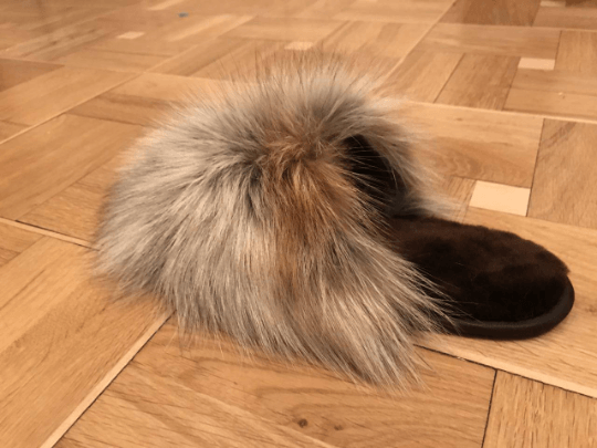 Buy Women's Real Gray Fox Slippers