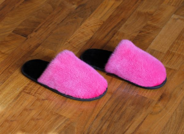 Buy Men's Slippers Real Mink Rose Fuchsia