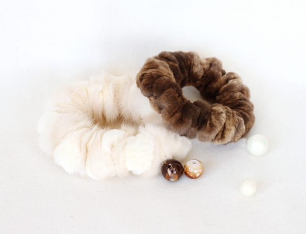 Buy Hair Scrunchies Real Mink Fur Biege and Brown Set 2 pcs