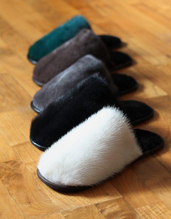 Buy Men's Slippers Real Mink Beige