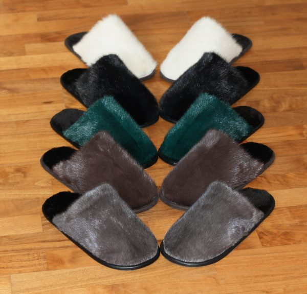 Buy Men's Slippers Real Mink Gray