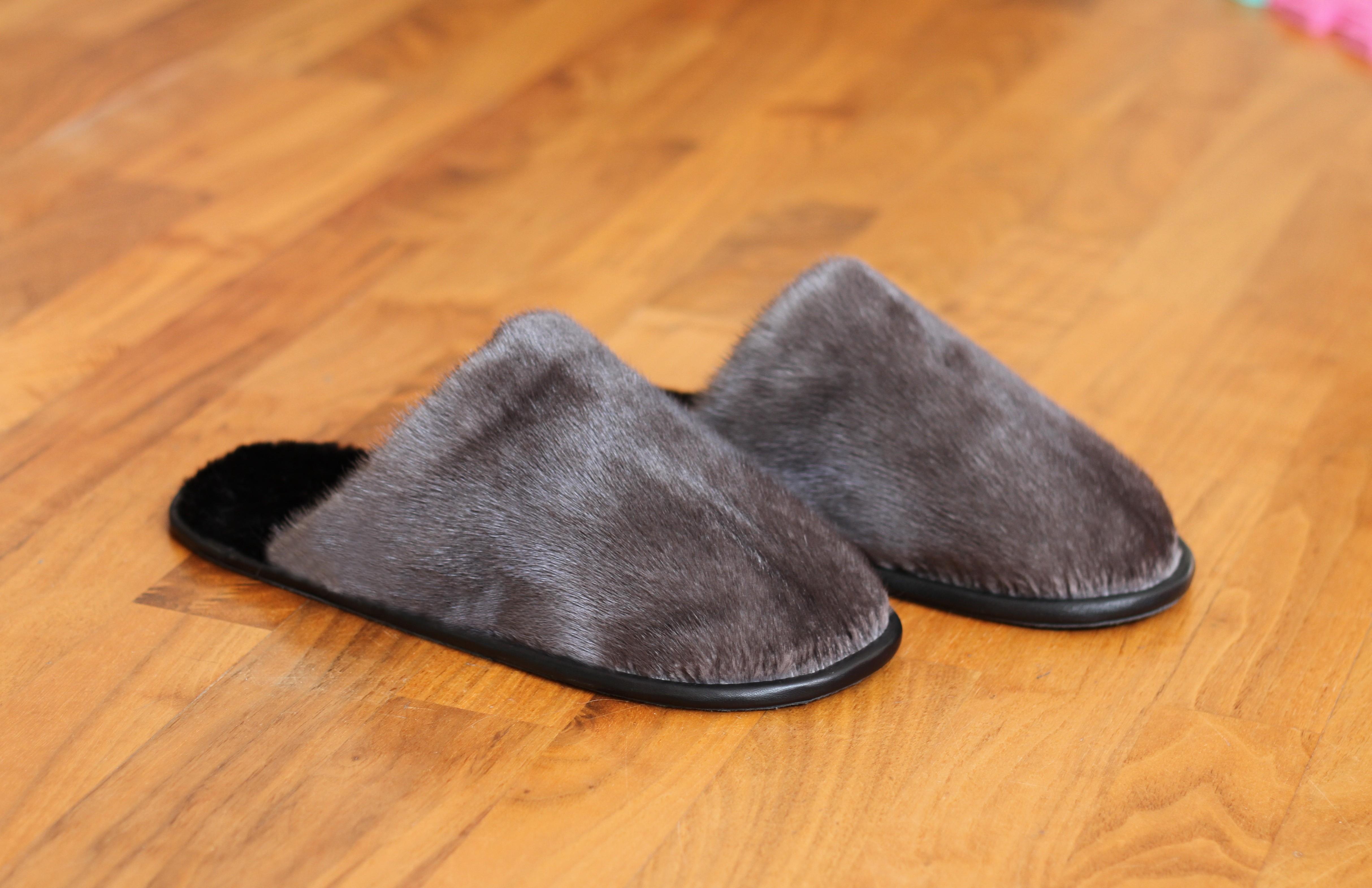 Buy Men's Slippers Real Mink Gray