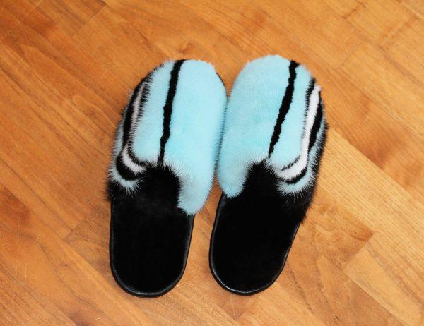 Buy Men's Slippers Real Mink Light Blue and Black