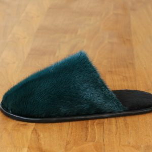 Buy Men's Slippers Real Mink Green