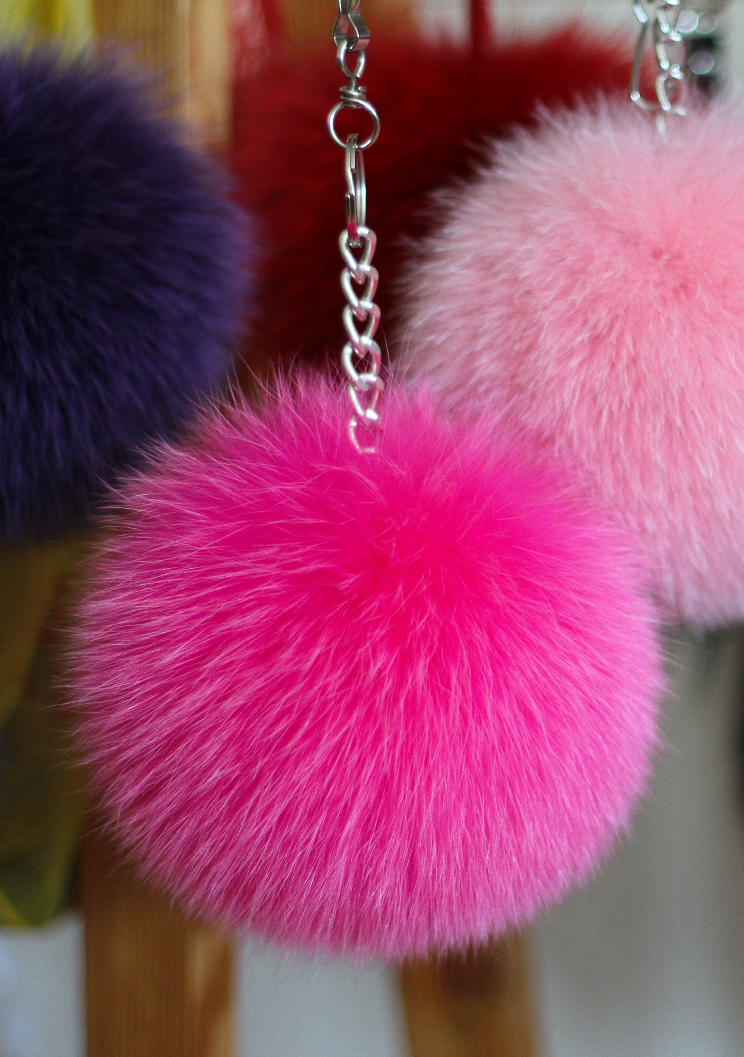 Buy Pom Pom Real Fur Polar Fox Bag Charm Pendant Pink Fucsia