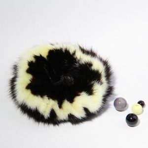 Buy Hair Scrunchie Real Mink Black and Lemon