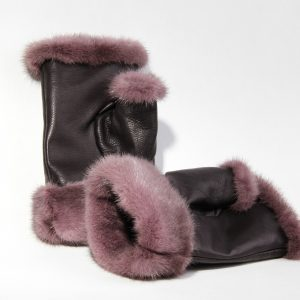 Buy Women Fingerless Mittens Violet Real Fur Mink