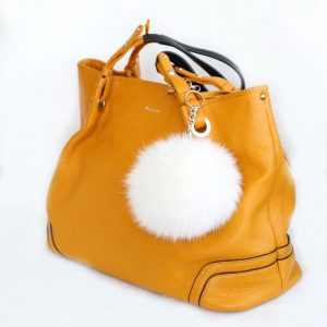 Buy Pom Pom Real Fur Polar Fox Bag Charm Pendant White