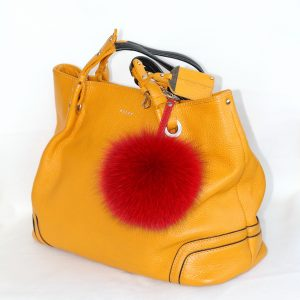 Buy Pom Pom Real Fur Polar Fox Bag Charm Pendant Red