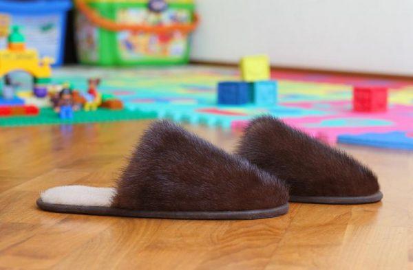 Buy Women's Slippers Real Mink Brown