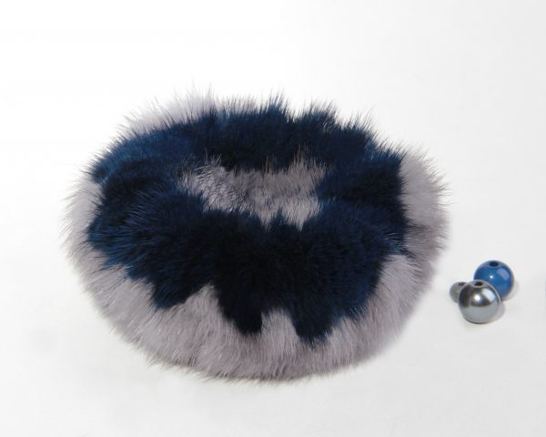 Buy Hair Scrunchie Real Mink double color Gray and Blue