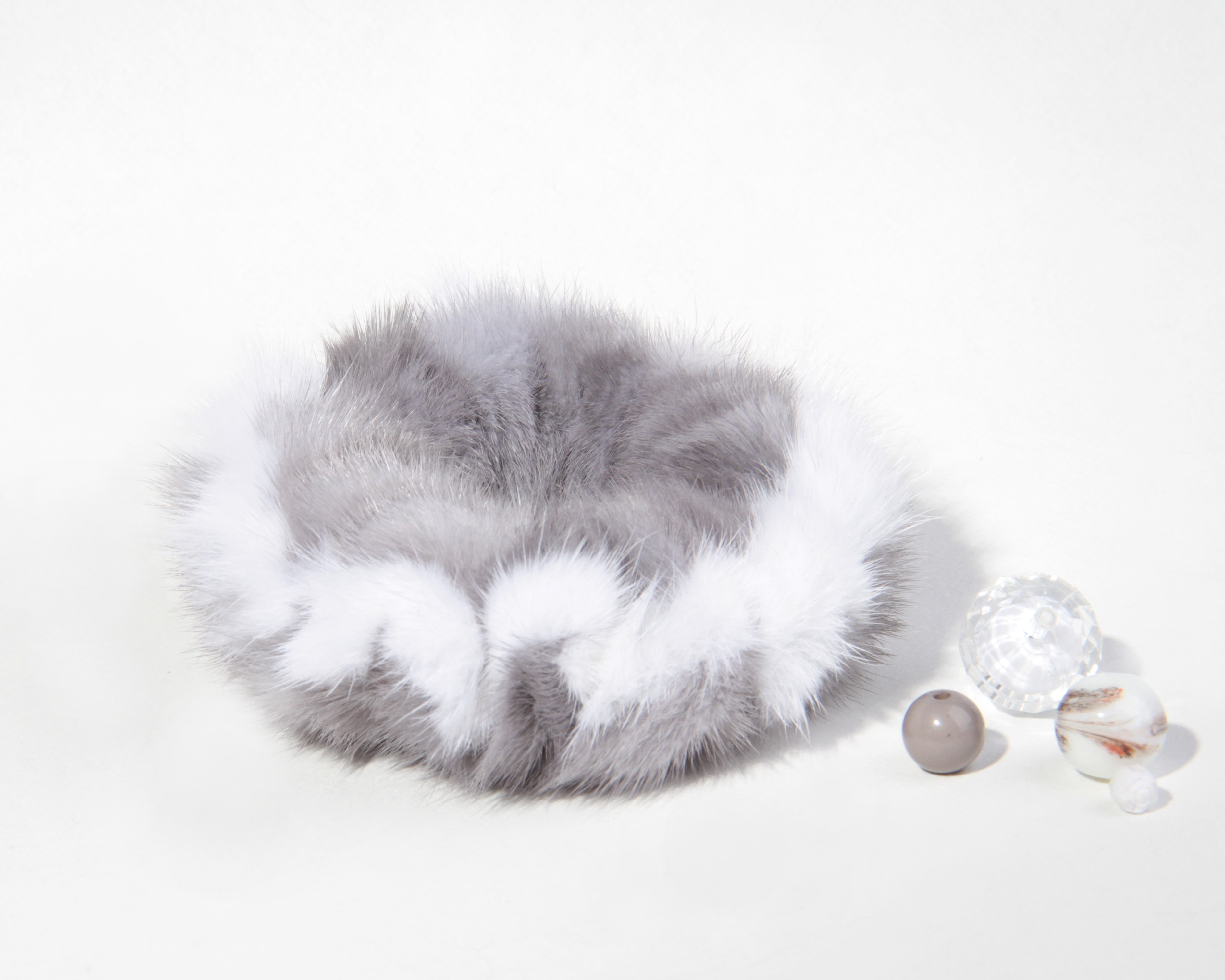 Buy Hair Scrunchie Real Mink double-colored Sapphire and White