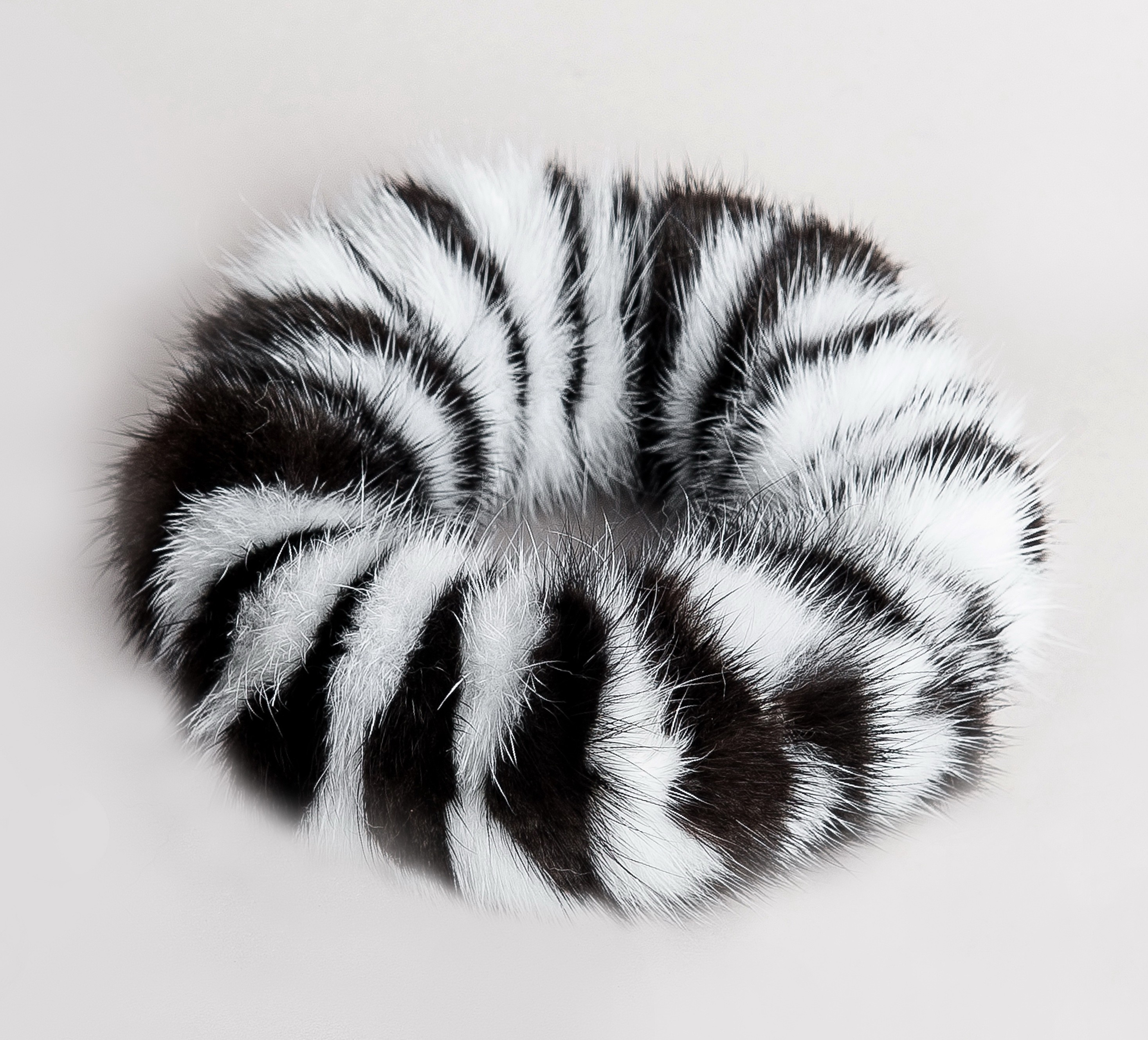 Buy Hair Scrunchie Real Mink White and Black Striped Bicolor